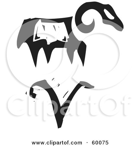 Royalty-Free (RF) Clipart Illustration of a Black And White Carved Aries And Zodiac Symbol by xunantunich