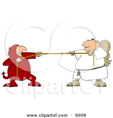 Tug Of War Battle Between Good and Evil (Devil and Angel) Clipart Picture by djart