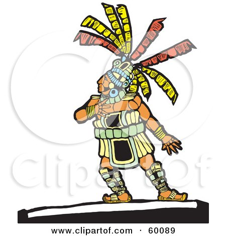 Royalty-Free (RF) Clipart Illustration of a Native Man Touching His Chest And Looking Up To The Left by xunantunich