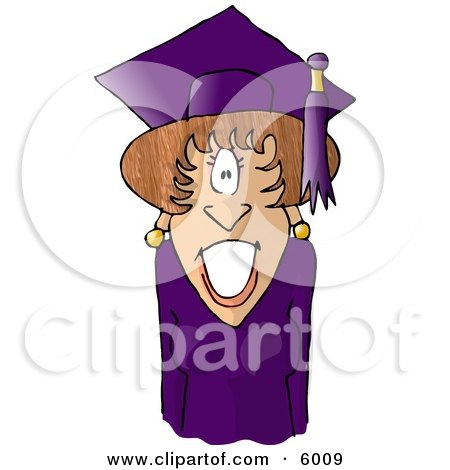 Graduated Female Wearing Cap and Gown Clipart Picture by djart