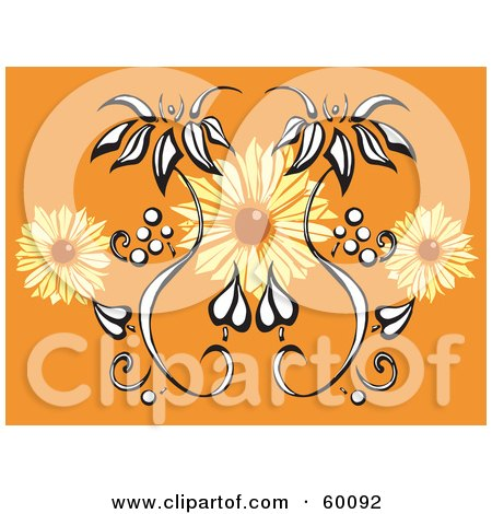 Royalty-Free (RF) Clipart Illustration of an Orange Background With Black And White And Orange Flowers by xunantunich