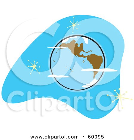 Royalty-Free (RF) Clipart Illustration of a Retro Planet Earth With Brown Continents On Blue With Stars by xunantunich