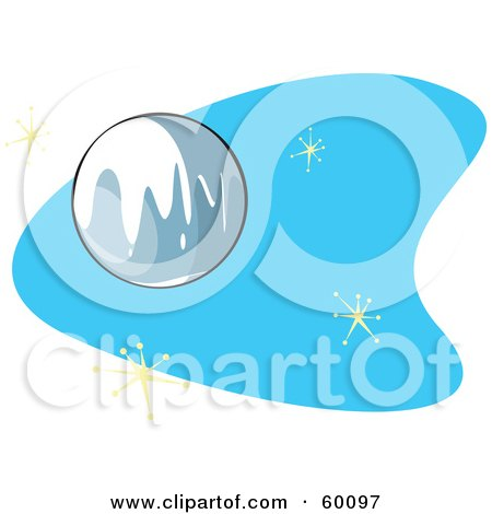 Royalty-Free (RF) Clipart Illustration of a Retro Planet Pluto On Blue With Stars by xunantunich