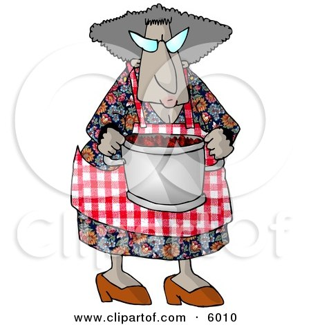Grandma Carrying a Cooking Pot Full of Fresh Red barriers Clipart Picture by djart