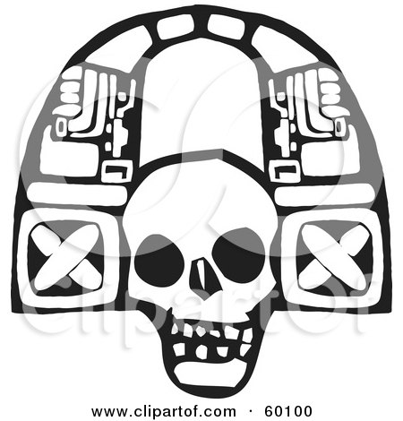 Royalty-Free (RF) Clipart Illustration of a Black And White Tribal Arch Skull by xunantunich