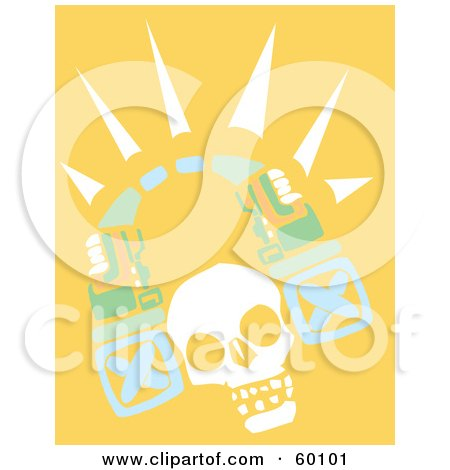 Royalty-Free (RF) Clipart Illustration of a White Human Skull With A Tribal Arch by xunantunich