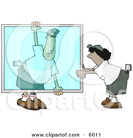 Apprentice Glazier Carrying a Big Glass Window Clipart Picture by djart