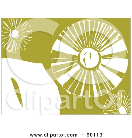 Royalty-Free (RF) Clipart Illustration of Abstract White Dandelion Flowers On Green by xunantunich