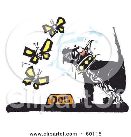 Royalty-Free (RF) Clipart Illustration of a Chained Black Dog Growling At Butterflies by xunantunich