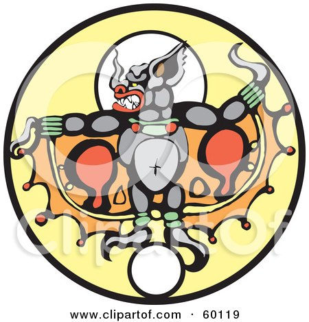 Royalty-Free (RF) Clipart Illustration of The Bat God, Camazotz, Over A Yellow Circle by xunantunich