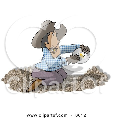 Happy Mexican Gold Miner Finding Gold Nuggets in a Pile of Dirt Clipart Picture by djart