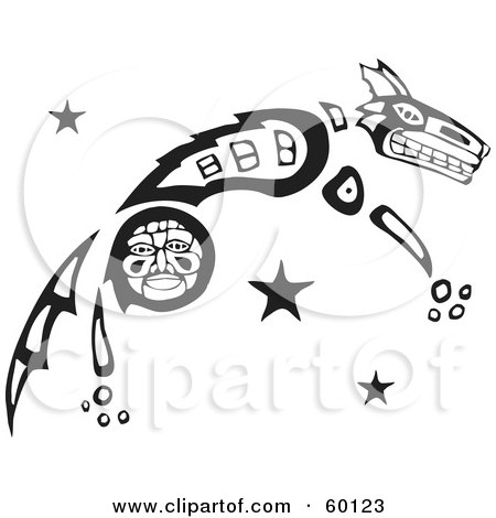 Royalty-Free (RF) Clipart Illustration of a Black And White Tribal Coyote Leaping by xunantunich
