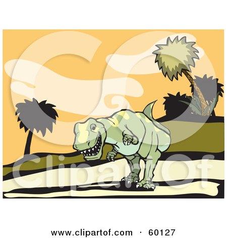 Royalty-Free (RF) Clipart Illustration of a Tyrannosaurus Rex Stalking Down A Hillside by xunantunich