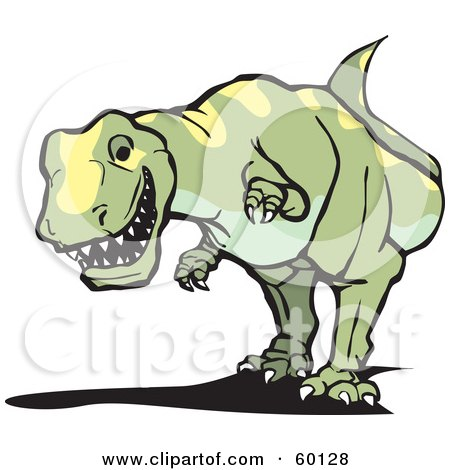 Royalty-Free (RF) Clipart Illustration of a Green And Yellow Stalking Tyrannosaurus Rex Dinosaur by xunantunich