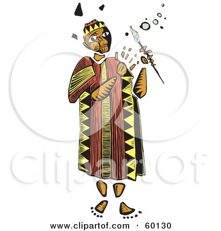 Royalty-Free (RF) Clipart Illustration of a Tribal Man Holding A Magic Wand by xunantunich