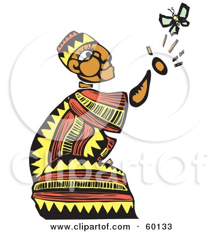 Royalty-Free (RF) Clipart Illustration of a Kneeling Tribal Man Reaching For A Butterfly by xunantunich