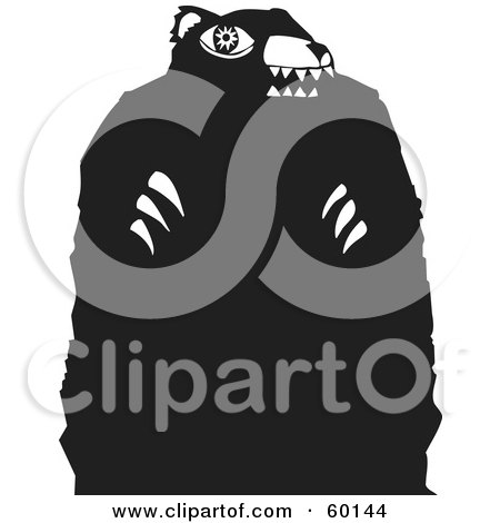 Royalty-Free (RF) Clipart Illustration of a Black And White Tribal Bear With Long Claws by xunantunich