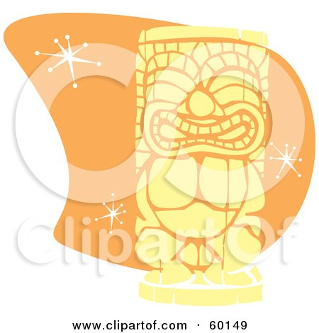 Royalty-Free (RF) Clipart Illustration of a Yellow Tiki Carving In Retro Style, Over Orange With Stars by xunantunich