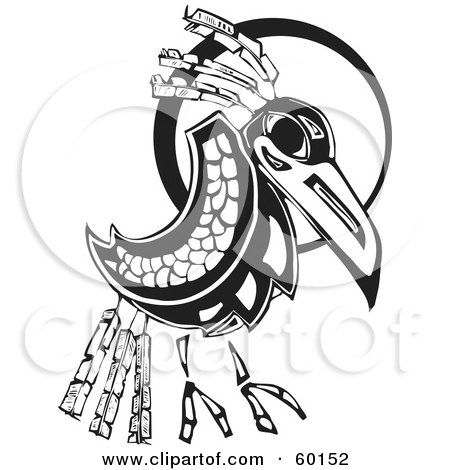 Royalty-Free (RF) Clipart Illustration of a Black And White Tribal Raven In Front Of A Moon by xunantunich