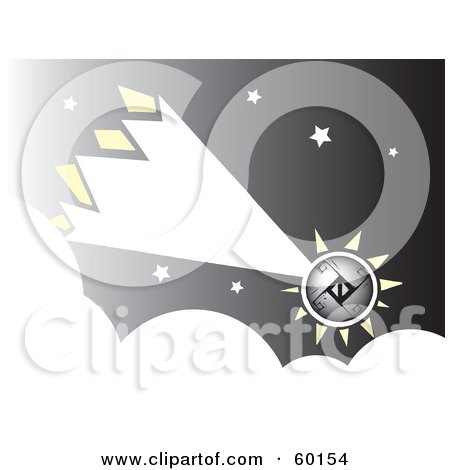 Royalty-Free (RF) Clipart Illustration of a Shooting Comet Over Clouds In A Starry Sky by xunantunich