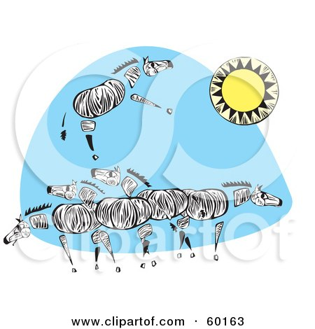 Royalty-Free (RF) Clipart Illustration of a Herd Of Tribal Zebras Under A Sun by xunantunich