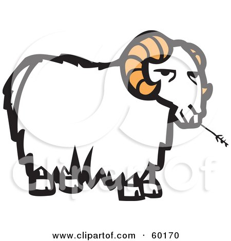 Royalty-Free (RF) Clipart Illustration of a Grumpy White Goat With Orange Horns, Chewing On Straw by xunantunich