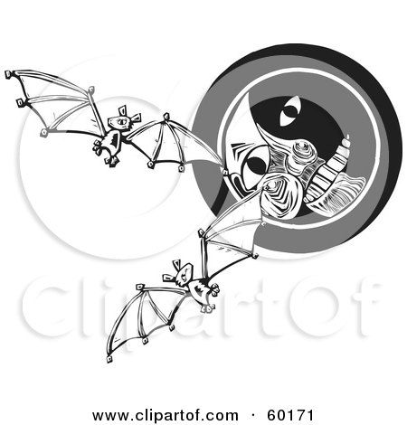 Royalty-Free (RF) Clipart Illustration of Flying Bats In Front Of A Moon Face, Black And White by xunantunich