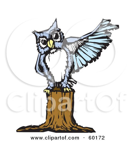 Royalty-Free (RF) Clipart Illustration of a Blue Owl Perched On A Tree Stump And Pointing With Its Wing by xunantunich