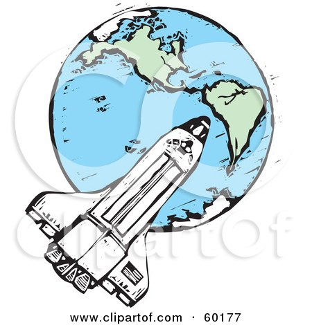 Royalty-Free (RF) Clipart Illustration of a Space Shuttle Flyig Around Earth by xunantunich