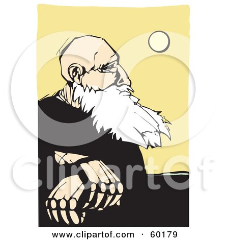 Royalty-Free (RF) Clipart Illustration of a Wise Old Man With A White Beard, Sitting And Pondering The Sun by xunantunich