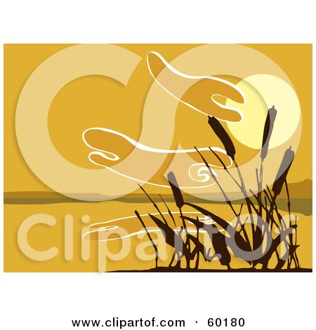 Royalty-Free (RF) Clipart Illustration of a Silhouetted Reeds Against An Orange Sunset Over A Lake by xunantunich