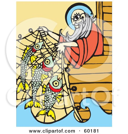 Royalty-Free (RF) Clipart Illustration of Noah Leaning Over A Ship's Edge And Lifting Fish In A Net by xunantunich