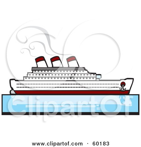Royalty-Free (RF) Clipart Illustration of a Steamer Cruise Ship On Still Blue Waters by xunantunich