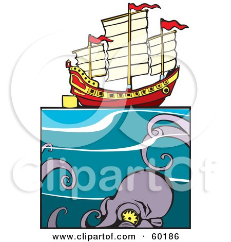 Royalty-Free (RF) Clipart Illustration of a Giant Squid Approaching A Chinese Junk Ship At Sea by xunantunich