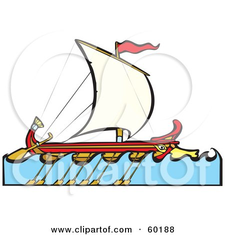 Royalty-Free (RF) Clipart Illustration of a Sailing Bireme Ship With Paddles On The Side by xunantunich