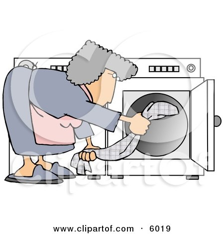 Housewife Putting Wet Clothes Into a Dryer Posters, Art Prints