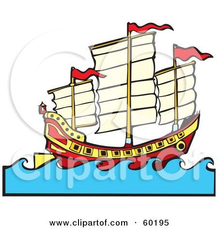 Royalty-Free (RF) Clipart Illustration of a Chinese Junk Ship Sailing At Sea by xunantunich