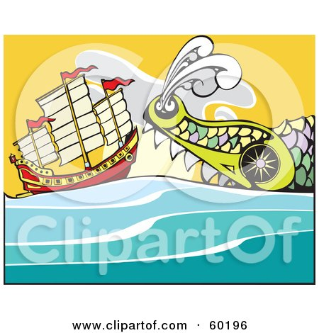 Royalty-Free (RF) Clipart Illustration of a Giant Sea Monster Swimming Towards A Chinese Junk Ship by xunantunich