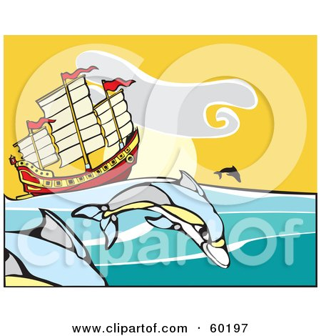 Royalty-Free (RF) Clipart Illustration of Dolphins Jumping Near A Chinese Junk Ship by xunantunich