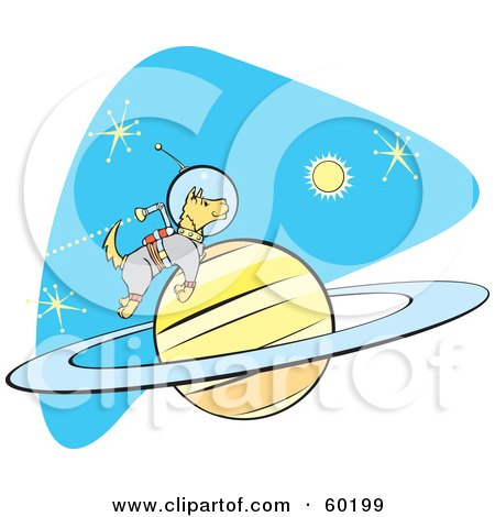 Royalty-Free (RF) Clipart Illustration of an Astronaut Space Dog Jetting Around A Planet In Space by xunantunich