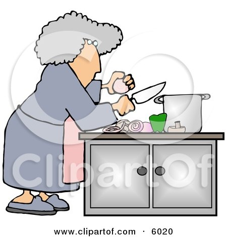 Housewife Preparing A Meal For Dinner Clipart Picture