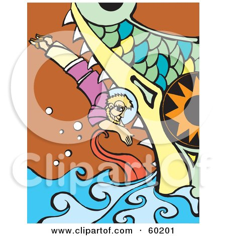 Royalty-Free (RF) Clipart Illustration of Jonah Diving Into The Whale's Mouth by xunantunich