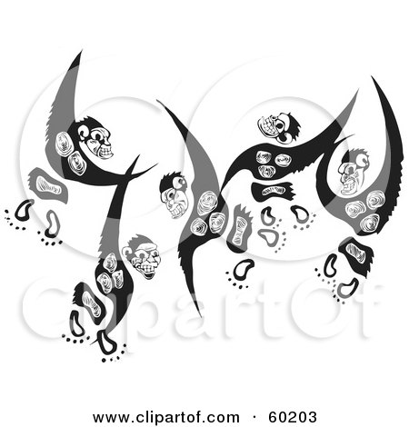 Three Black And White Leaping Monkeys Posters, Art Prints