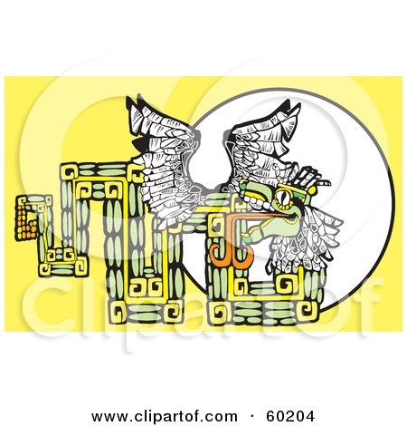 Royalty-Free (RF) Clipart Illustration of a Tribal Design Of The Mayan Serpent God Kukulkan On Yellow by xunantunich