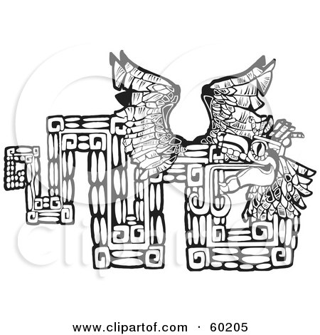 Royalty-Free (RF) Clipart Illustration of a Black And White Tribal Design Of The Mayan Serpent God Kukulkan by xunantunich