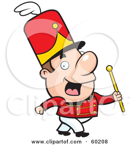 Royalty-Free (RF) Clipart Illustration of a John Man Character Conductor Marching With A Wand by Cory Thoman