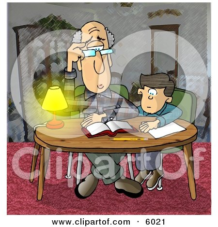 Dad Helping Son with Homework Clipart Picture by djart