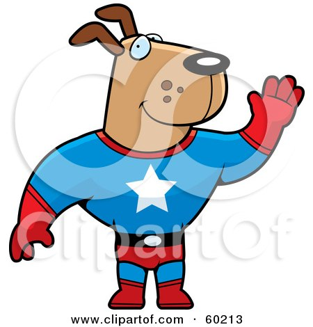 Royalty-Free (RF) Clipart Illustration of a Brown Doggy Character Super Hero Waving by Cory Thoman