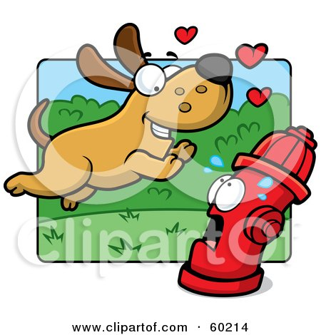 Royalty-Free (RF) Clipart Illustration of an Amorous Max Dog Character Running Towards A Scared Fire Hydrant by Cory Thoman