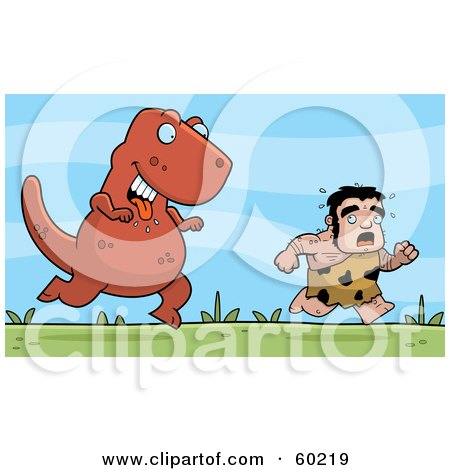 Stalky Caveman Character Being Chased By A Big Dinosaur Posters, Art Prints